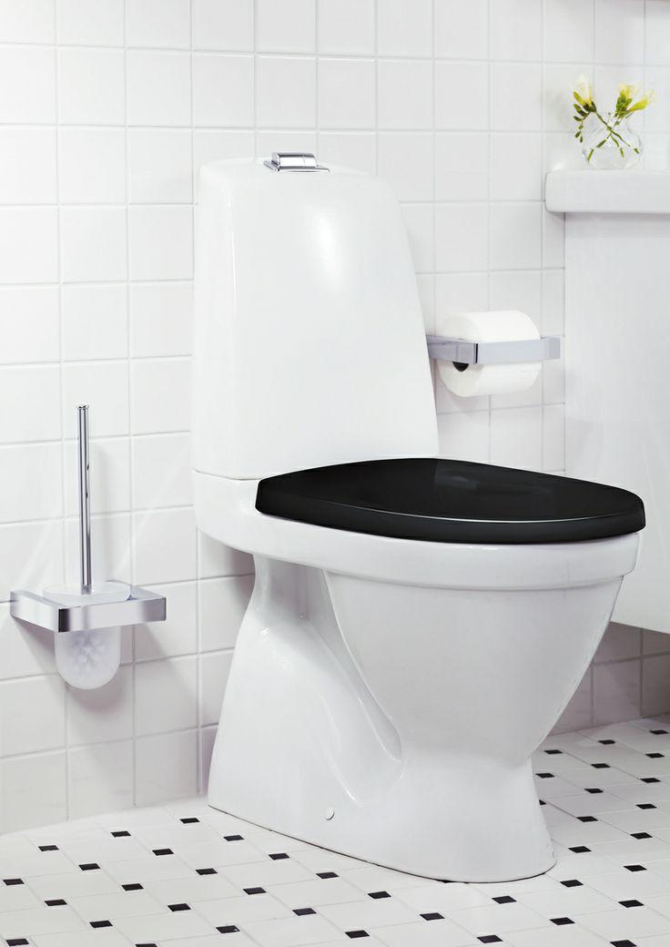 Toalettstol från Nautic med svart sits. | GUSTAVSBERG