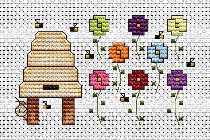 Cross-stitch Garden Bees ... no color chart available, just use the pattern chart as your color guide..