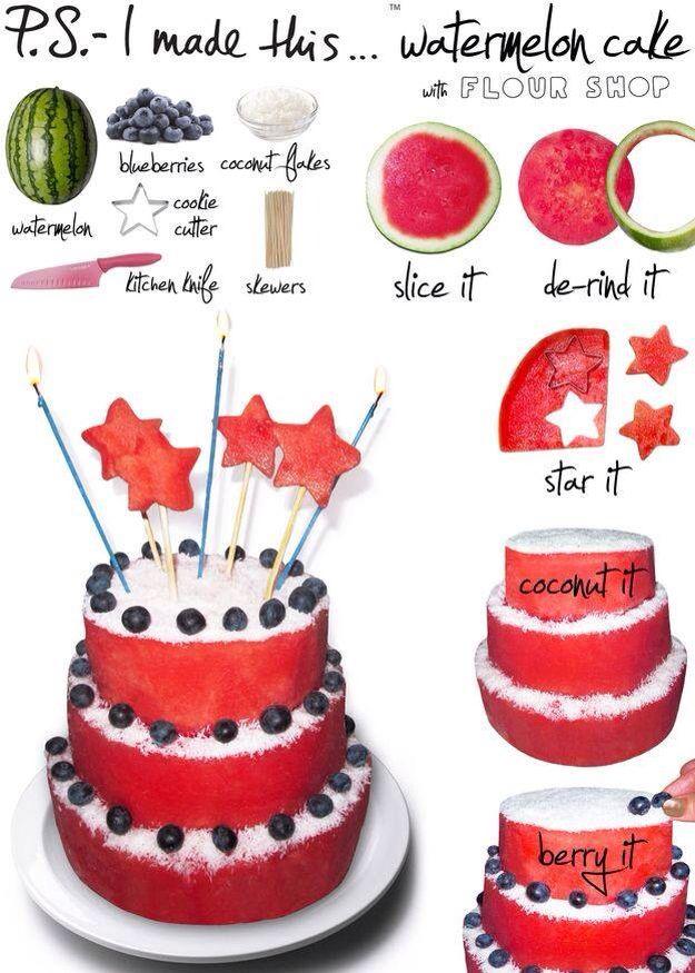 Gezonde watermeloen taart
