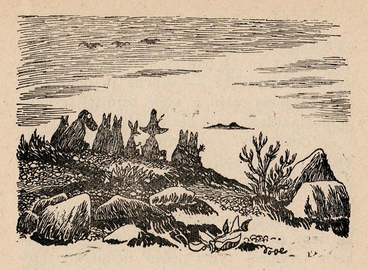"""""""-Kääriydytään huopiin ja odotetaan kunnes aurinko nousee. Niin he sitten istuutuivat riviin rannalle tiiviisti vieretysten. Nipsu tahtoi istua keskellä, sillä hänen mielestään siinä oli turvallisinta."""" -Muumipeikko. Taikurin hattu"""