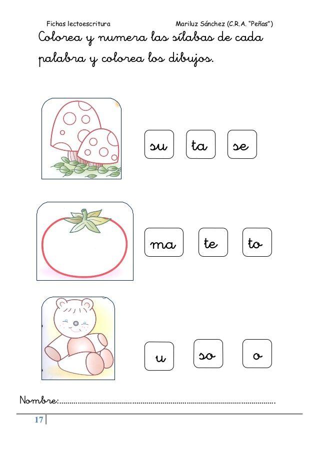 """Fichas lectoescritura Mariluz Sánchez (C.R.A. """"Peñas"""") 17 Colorea y numera las sílabas de cada palabra y colorea los dibuj..."""