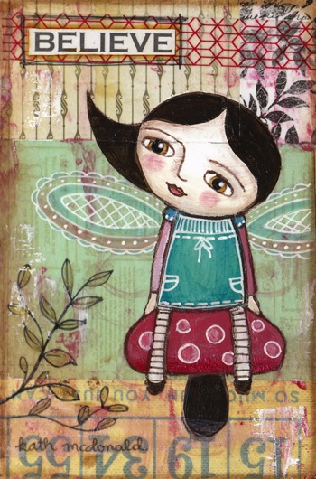 """""""Believe"""". A very tiny collage, mixed media on wood block."""