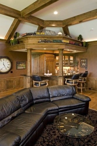 Train set above the wet bar - great place for conversation
