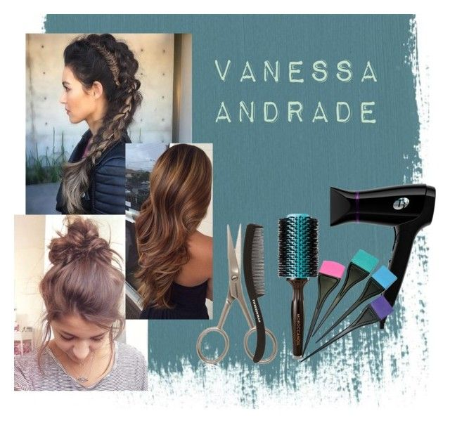hair by vanessaxavierdeandrade on Polyvore featuring beauty, T3, Tweezerman and Moroccanoil