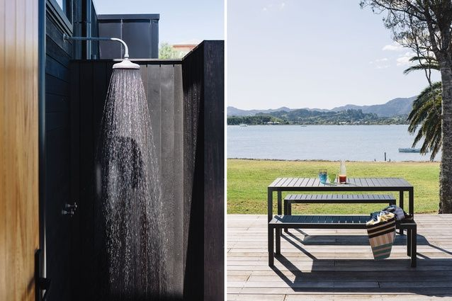 The view from the back deck and the home's private outdoor shower.