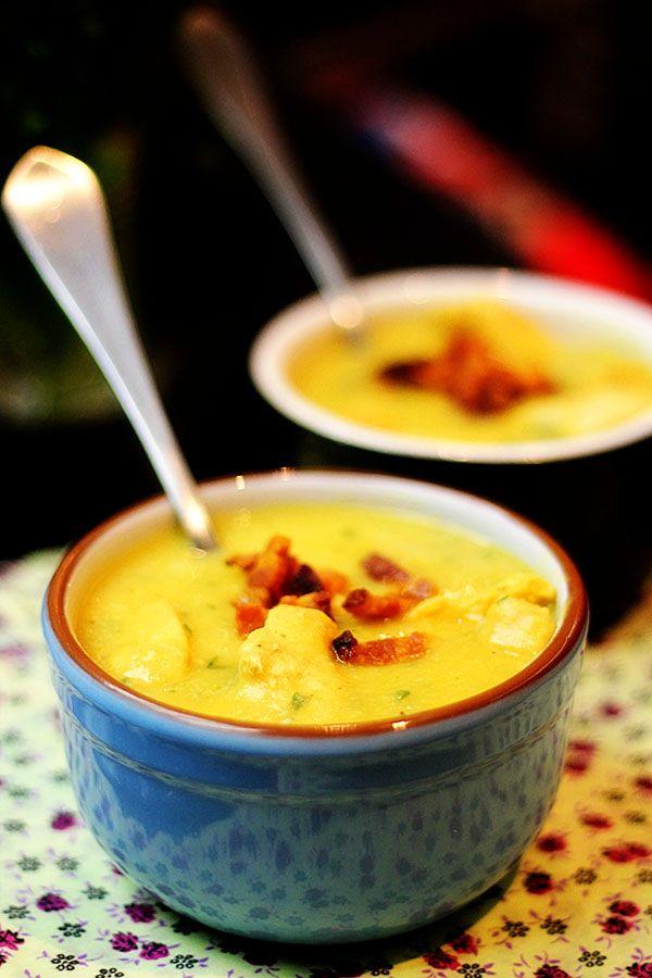 Sopa de batata doce com gengibre [e pimenta, e frango e... bacon]