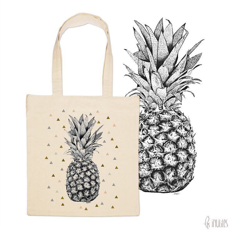 ♡ Tote Bag Ananas ♡ www.lesinutiles.fr/149-minimel Sac en coton Illustré - illustration Minimel sur Les inutiles - Mélanie Marasse - photo ©lesinutiles