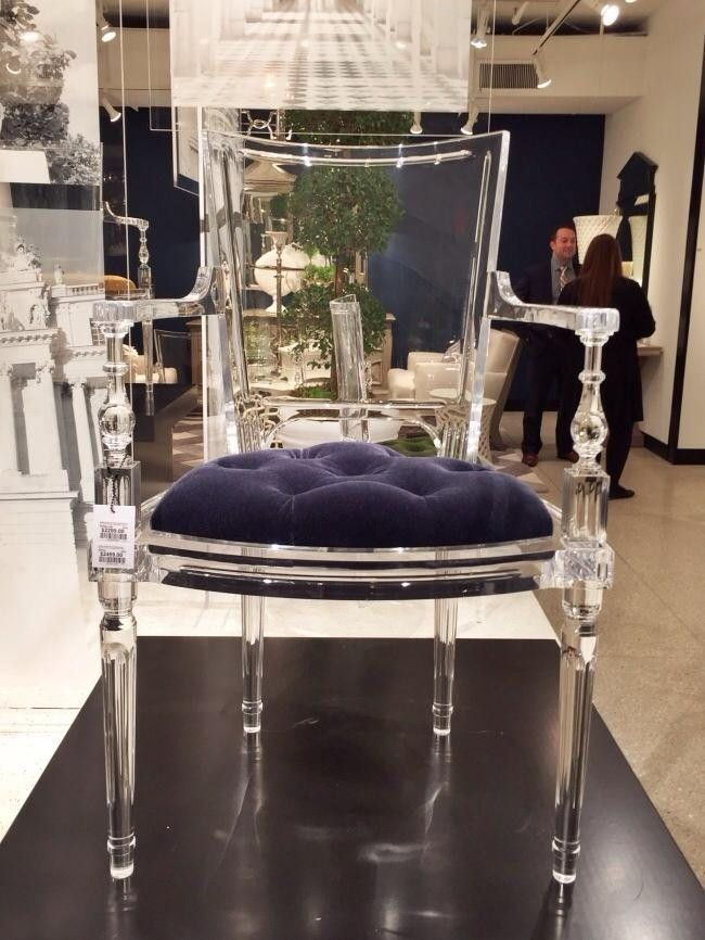 High Point Market Fall, 2014.  A true statement piece that caught just about everyone's eye was the Marilyn Acrylic Chair from Global Views. While perhaps not for every consumer, this Louis XVI chair with fluted legs (available with or without arms) was crafted in Lucite but in the same shape as it was back in the day. Expect to see this chair everywhere.