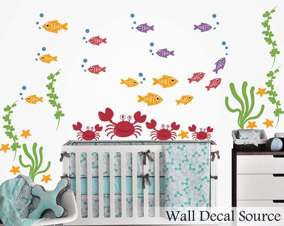 Nursery Wall Decal   Fish Wall Decal   Crab Wall Decal   Fish Decal   Ocean  Decals   Crab Decals   Boy Wall Decals   Aquatic Wall Decals