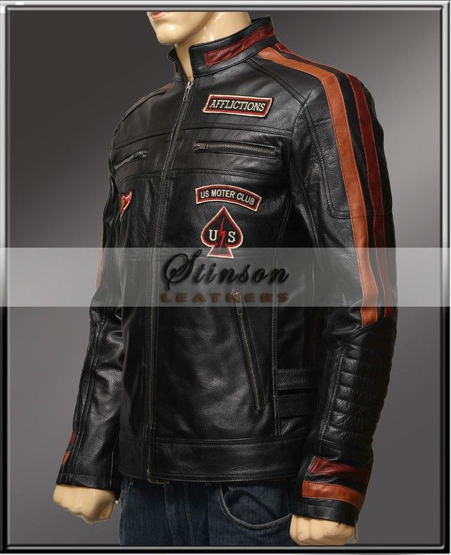 Material : Real Cowhide Leather 	Color : Black 	Outfit Type : Biker Leather Jacket 	Collar : Buttoned Collar 	Money Back Guarantee