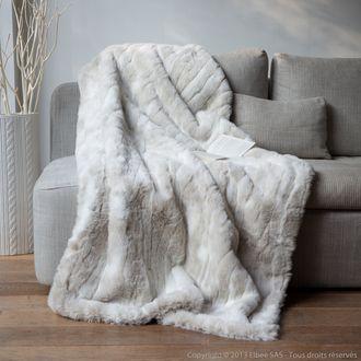 Plaid fausse fourrure loup blanc 140x180cm SWEET HOME Comptoir des toiles port offert