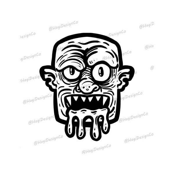 Halloween Zombie Clipart Png Files For Tshirts Instant Digital Download Graphic Black And White Zombi Stencil Art Card Marking Computer Background Pictures