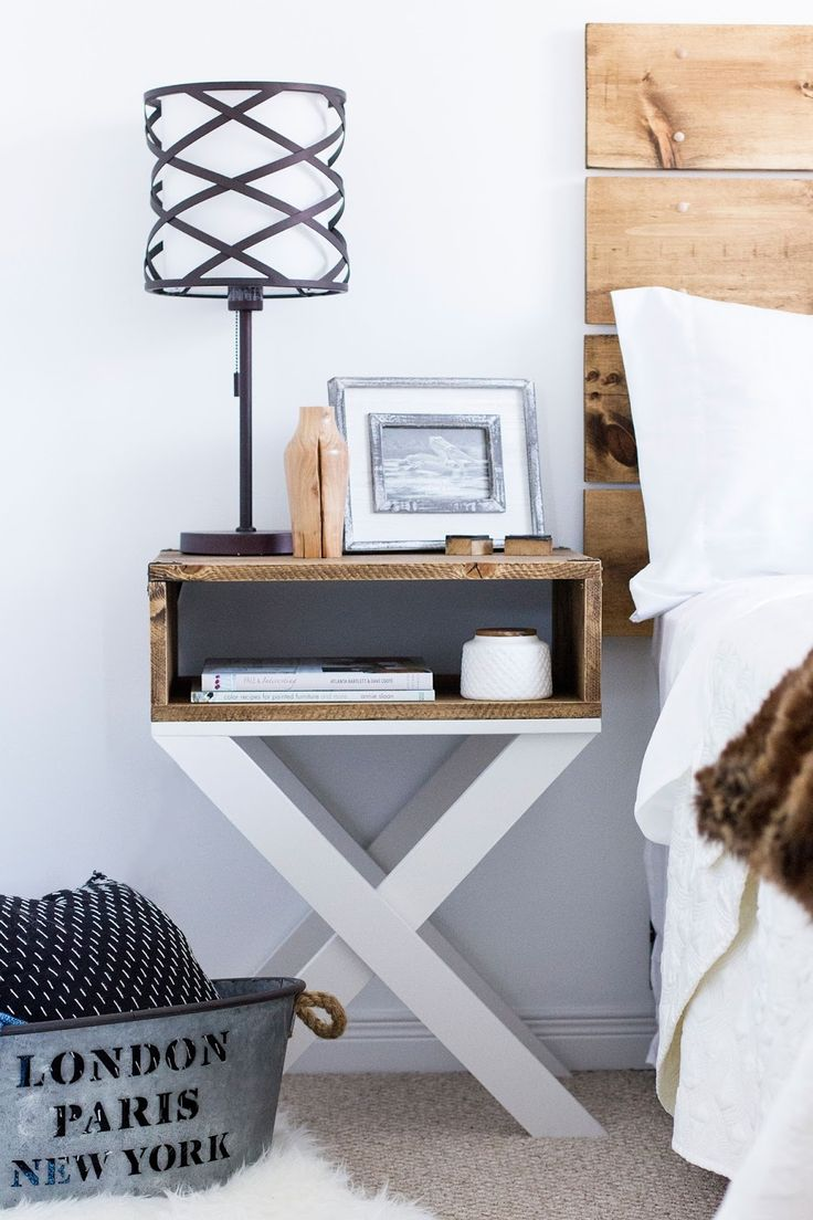 the perfect addition to any master bedroom this easy diy nighstand with x legs is just what your space needs