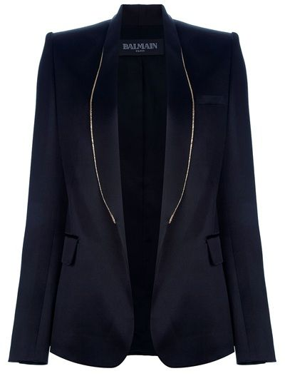 Black cotton blend dinner jacket from Balmain featuring a front open closure, tall curved lapels with a contrasting gold-tone metallic chain trim detail, long sleeves with buttoned cuffs two flap closure pockets to the front and a rear vent.: Balmain Features, Jackets Vest, Coats Jackets, Dinners Jackets, Black Cotton, Blend Dinners, Buttons Cuffs, Chains Trim, Closure Pockets