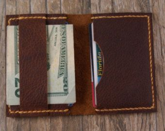 The Band - Minimalist Wallet Card Holder in Brown Kodiak Oil Tanned Leather with free Shipping in the U.S.A.. Handmade in the U.S.A.
