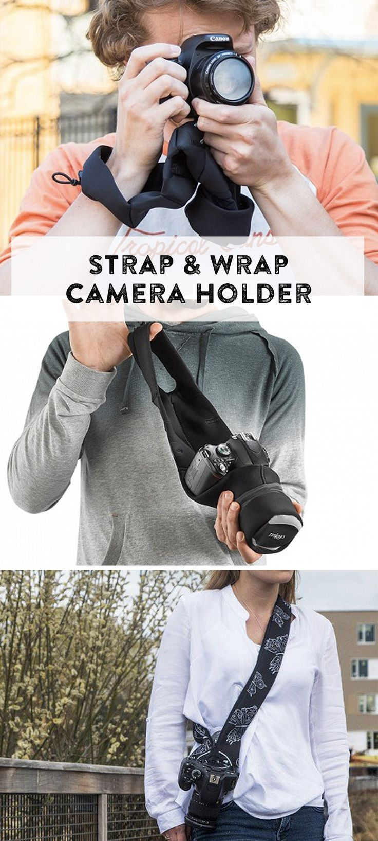 These camera straps double as cushiony wraps to keep your camera protected. Pop small to mid-sized DSLR in a day bag, and leave the bulky camera bag behind. The neck strap version can be worn cross-body while keeping your camera secure.
