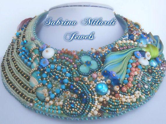 girocollo fatto a mano con tessitura di perline, swarowski, seta shibori e perline miyuki. SabrinaMilardiJewels