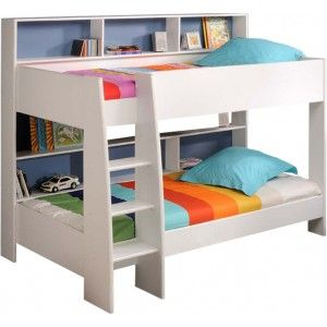 stapelbed bunkbed Love this idea for a bookcase behind the bed... Could make one for the side depending on where one has the most space.
