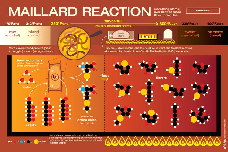"""Science is LARGE! This was the case with the Maillard Reaction. There were probes into why things happen, but in the end it took lots of conversations and learning A LOT of chemistry. I had never heard of the Maillard Reaction before working on this… I imagined it as something French and, because of the word """"reaction"""" and in the context of cooking, involving some heat."""