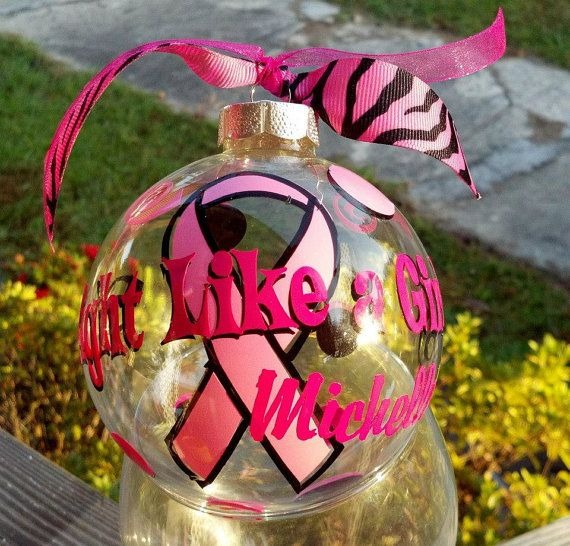 Breast Cancer Ribbon Christmas Ornament