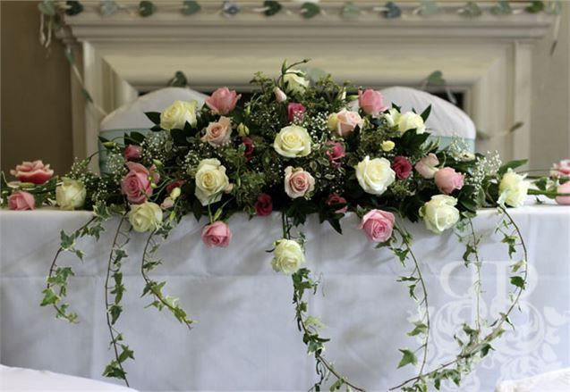 Pastel Rose Top Table Arrangement from Picture Perfect Events UK - Picture Perfect Events UK