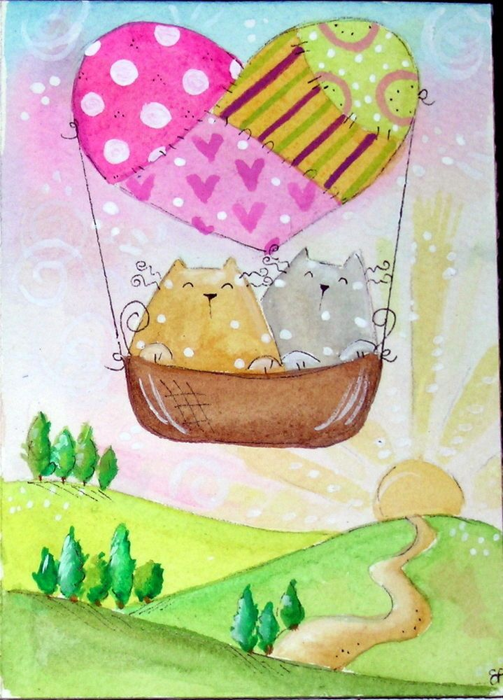 original watercolor 3.5x5- happy cats heart balloon landscape - acquarello gatti