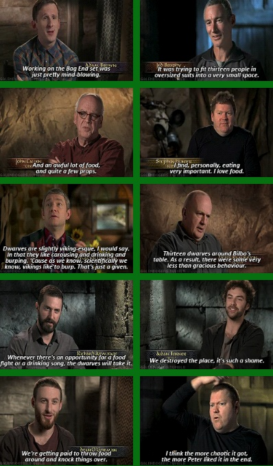 "Adam Brown, Jed Brophy, John Callen, Stephen Hunter, Martin Freeman, Peter Hambleton, Richard Armitage, Aidan Turner and Dean O'Gorman.  "" 'Cause as we know, scientifically, we know Vikings like to burp. That's just a given."" Oh, Martin, hahaha."