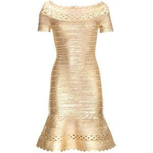 Hervé Léger Katherina Metallic Bandage Dress