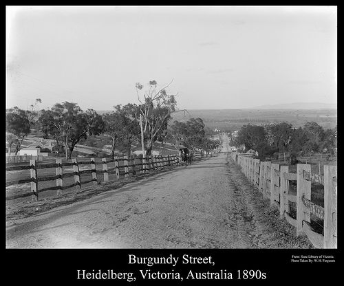 Burgundy Street, Heidelberg, Victoria, Australia, 1890s Copyright expired image.   Taken By: W. H. Ferguson   Original image from The State Library of Victoria.   This Image has been restored by Foto Supplies, Albury, NSW, Australia