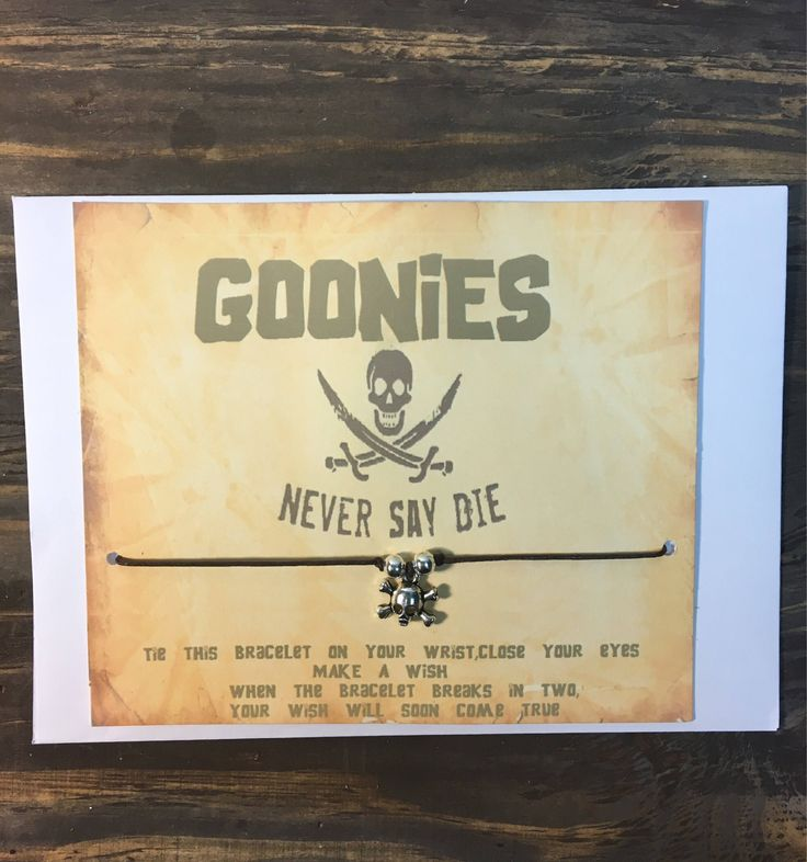 A personal favorite from my Etsy shop https://www.etsy.com/listing/552906421/goonies-wish-braceletskull-wish
