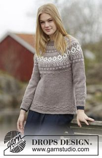 "English Afternoon - Knitted DROPS fitted jumper with round yoke, Nordic pattern and purl stitches, worked top down in ""Karisma"". Size: S - XXXL. - Free pattern by DROPS Design"
