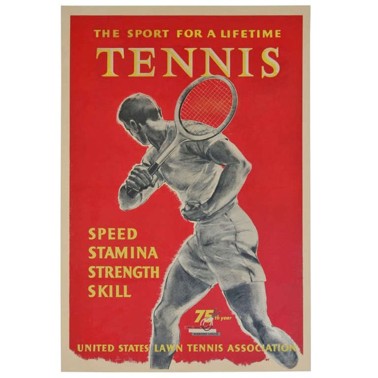 Rare and Important U.S. Lawn Tennis Poster 1956 - Pre U.S.T.A. | From a unique collection of antique and modern posters at http://www.1stdibs.com/furniture/wall-decorations/posters/