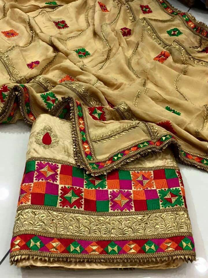 Tredtional goldon phulkari work & gotta patti work suit To buy Contact on whatsapp +918400060006 Delivery worldwide
