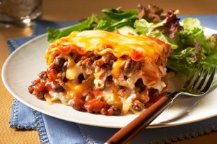 Make ahead chili and cheese lasagna. 300 cals per serving