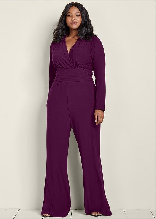 0d0f555f7fc Venus Women s Plus Size Waist Detail Jumpsuit Jumpsuits   Rompers - Purple