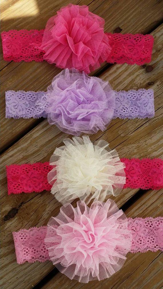 Set of 4 lace Baby Headbands, Baby Girl headband, Newborn headband, Shabby chic headband, Baby headbands, infant headband, flower headband