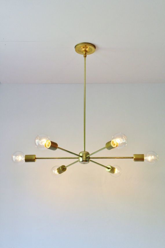 Modern Brass Chandelier, Mid Century Starburst Sputnik Chandelier Lighting Fixture, 6 Arms & Sockets, BootsNGus Lighting and Home Decor