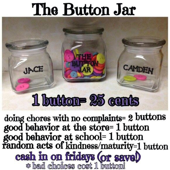 Button rewards for kids. Great way to encourage chores and good behavior. Added a good behavior all day at home too;).                                                                                                                                                     More