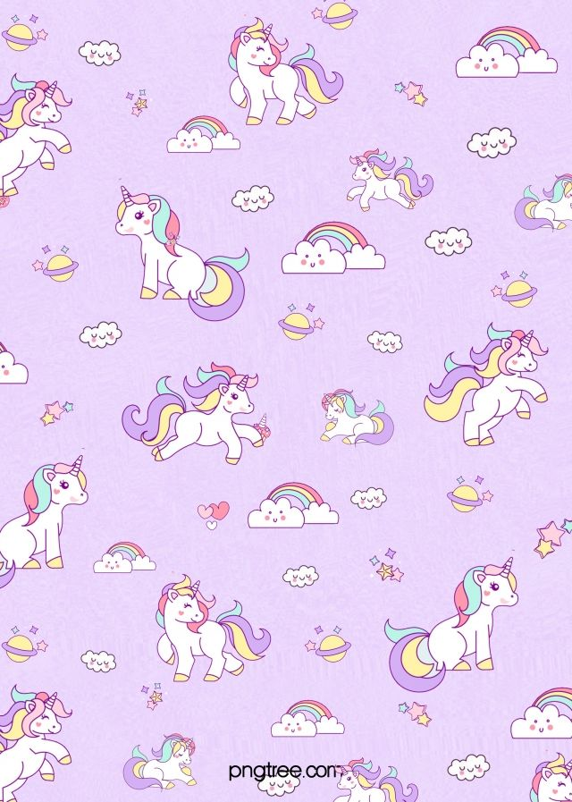 Purple Dream Unicorn Background Gambar Kuda Kartun Boneka Hewan