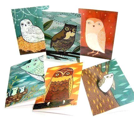 OWL NOTE CARDS set notecards owl illustrations art by boygirlparty