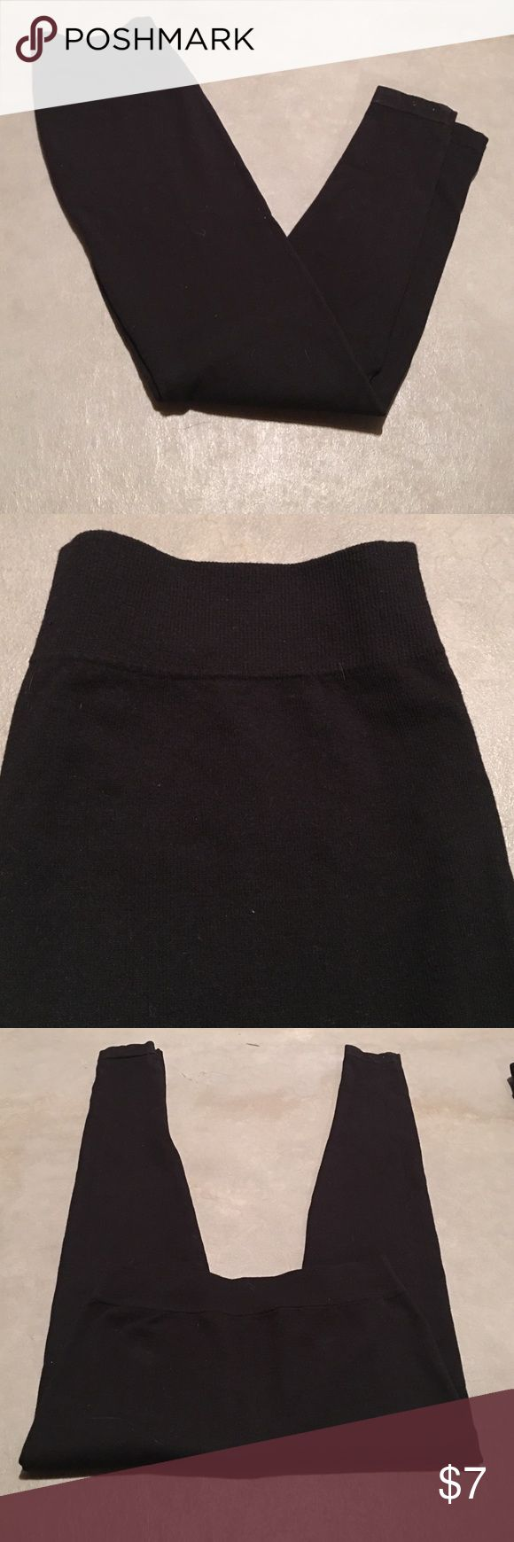Thick black leggings Heavy warm material- solid black- size large- long leggings Pants Leggings