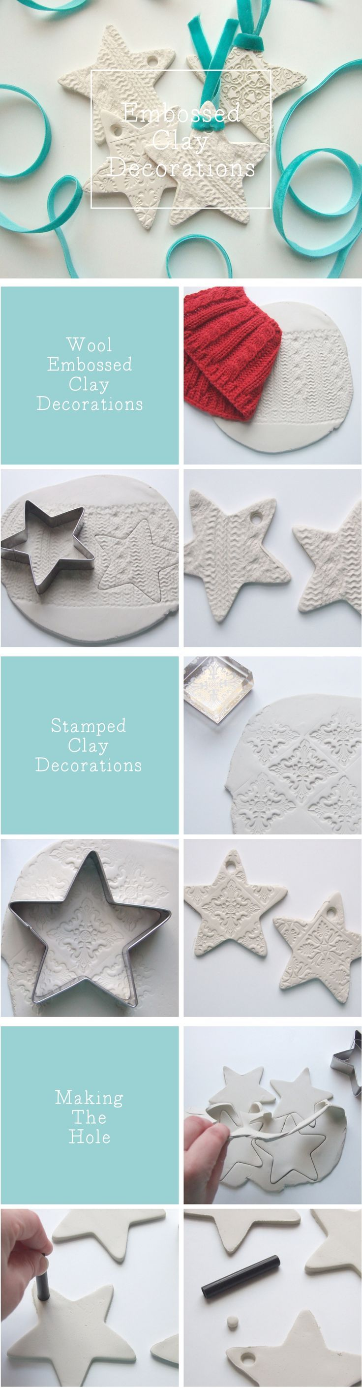 Embossed clay Christmas tags and ornaments! All you need is air dry clay, cookie cutters, a rolling pin, and some cool things to make impressions into the clay like ribbons, wool, doilies, or stamps! Love.