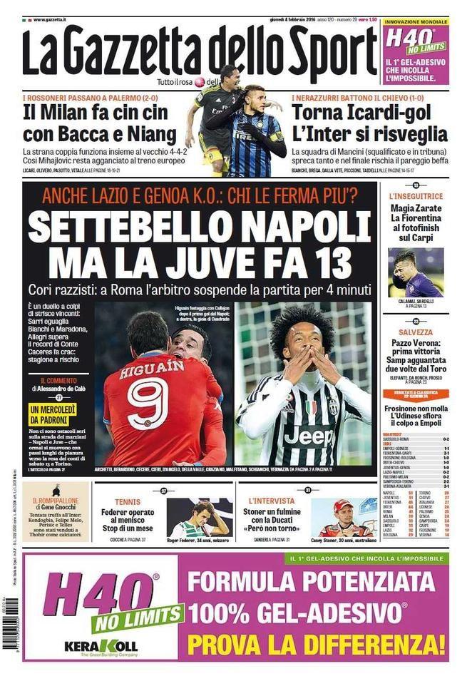 Rassegna stampa Italia Napoli e Juve da record Stampe