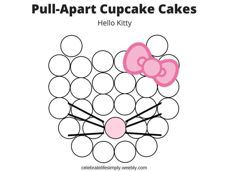 Hello Kitty Character Pull-Apart Cupcake Cake Templates