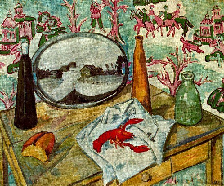 Mikhail Fiodorovich Larionov - Still Life with Crayfish (1907)