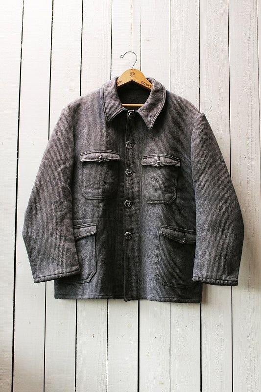 Vintage french hunting jacket/1960's/cotton pique/dark gray/animal button/size M-L