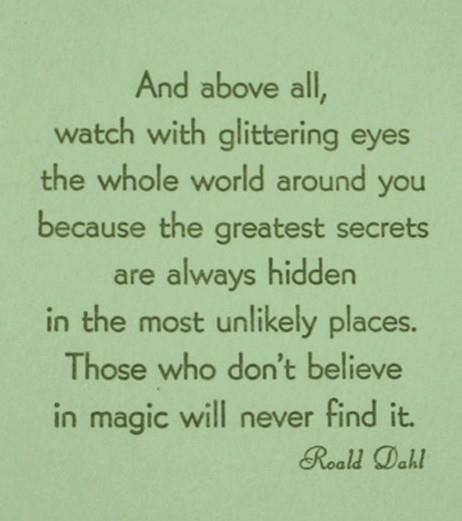 And above all, watch with glittering eyes the whole world around you because the greatest secrets are always hidden in the most unlikely places.