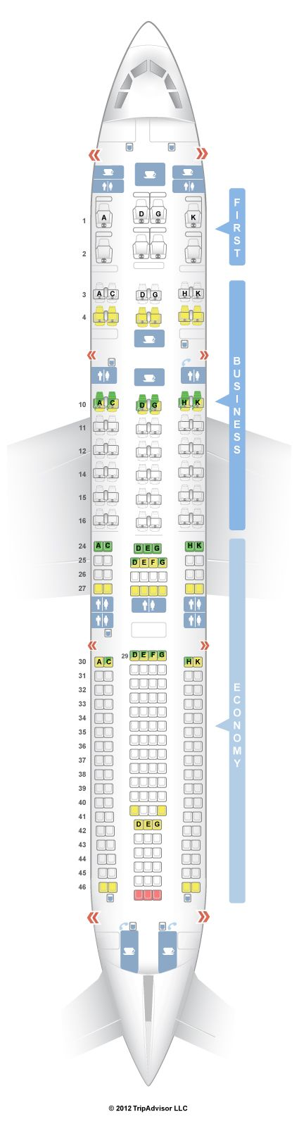 SeatGuru Seat Map Lufthansa Airbus A330-300 (333) V2, FRA-DOH and DOH-FRA