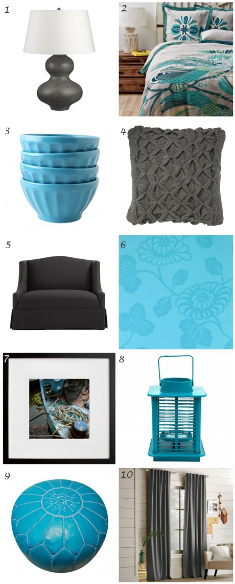 Decor inspiration: All things charcoal/grey and turquoise. Highlights: The Jonathan Adler moroccan pouf/ottoman and bird-inspired bedding from @Anthropologie . #decor #inspiration