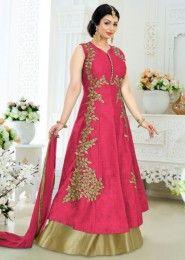 Party Wear Gajri Banglori Silk Embroidered Work Anarkali Suit